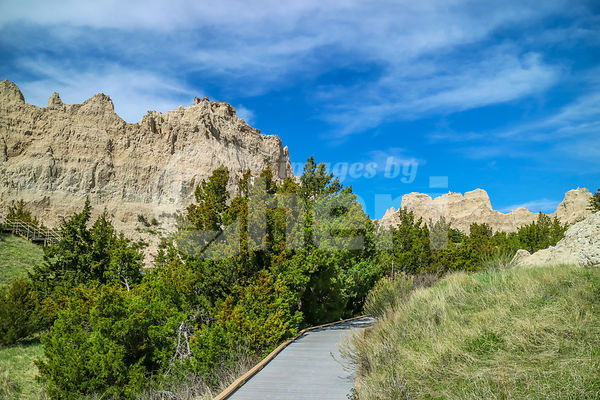 A gorgeous view of the rocky landscape of Badlands National Park, South Dakota