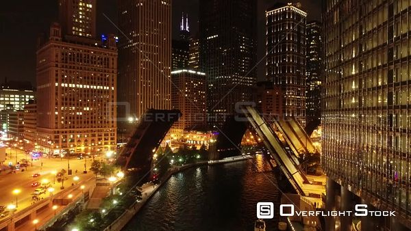Bridges on Chicago River Downtown Illinois Drone Aerial View