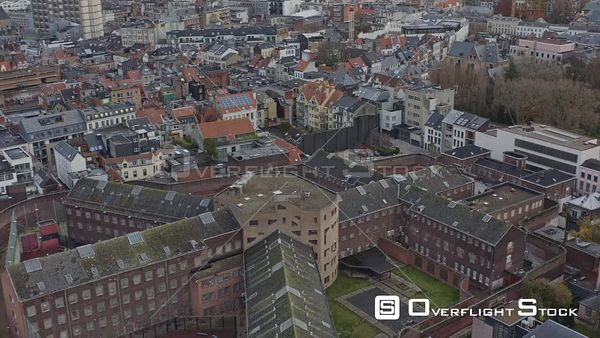 Antwerp Belgium Birdseye view flying low around prison in SintAndries district