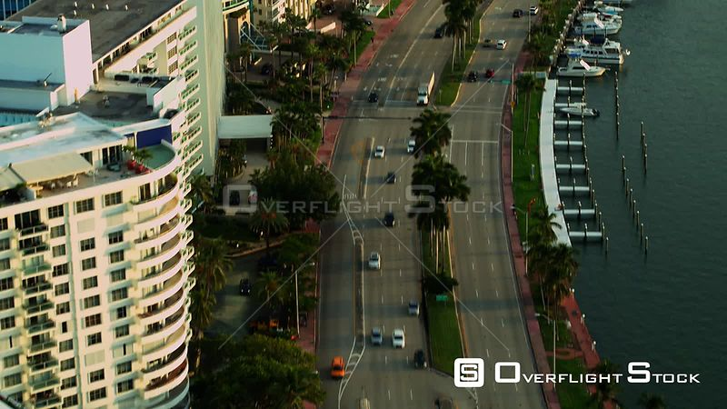Aerial reveal Blue and Green Diamond miami Beach FL