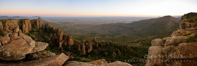 Elevated panoramic view of the Plains of Camdeboo in the Karoo Desert at sunset