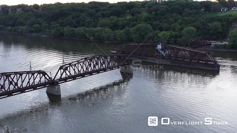 Antique Railroad Swing Bridge on the Mississippi River, Dubuque, Iowa, USA