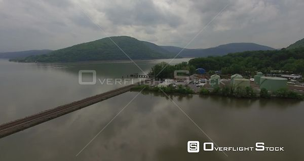 Railway on Annsville Creek Peekskill Westchester County New York Drone Video