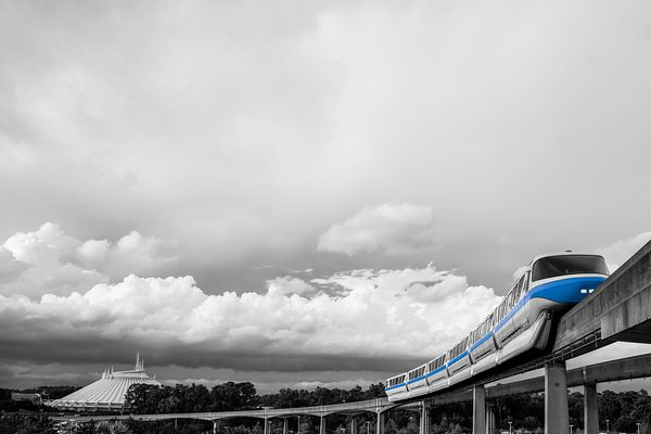 Monorail Blue and Space Mountain | Selective Color Print