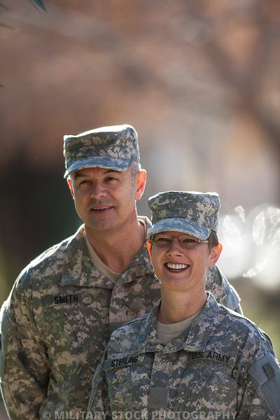 Military couple at home and off duty
