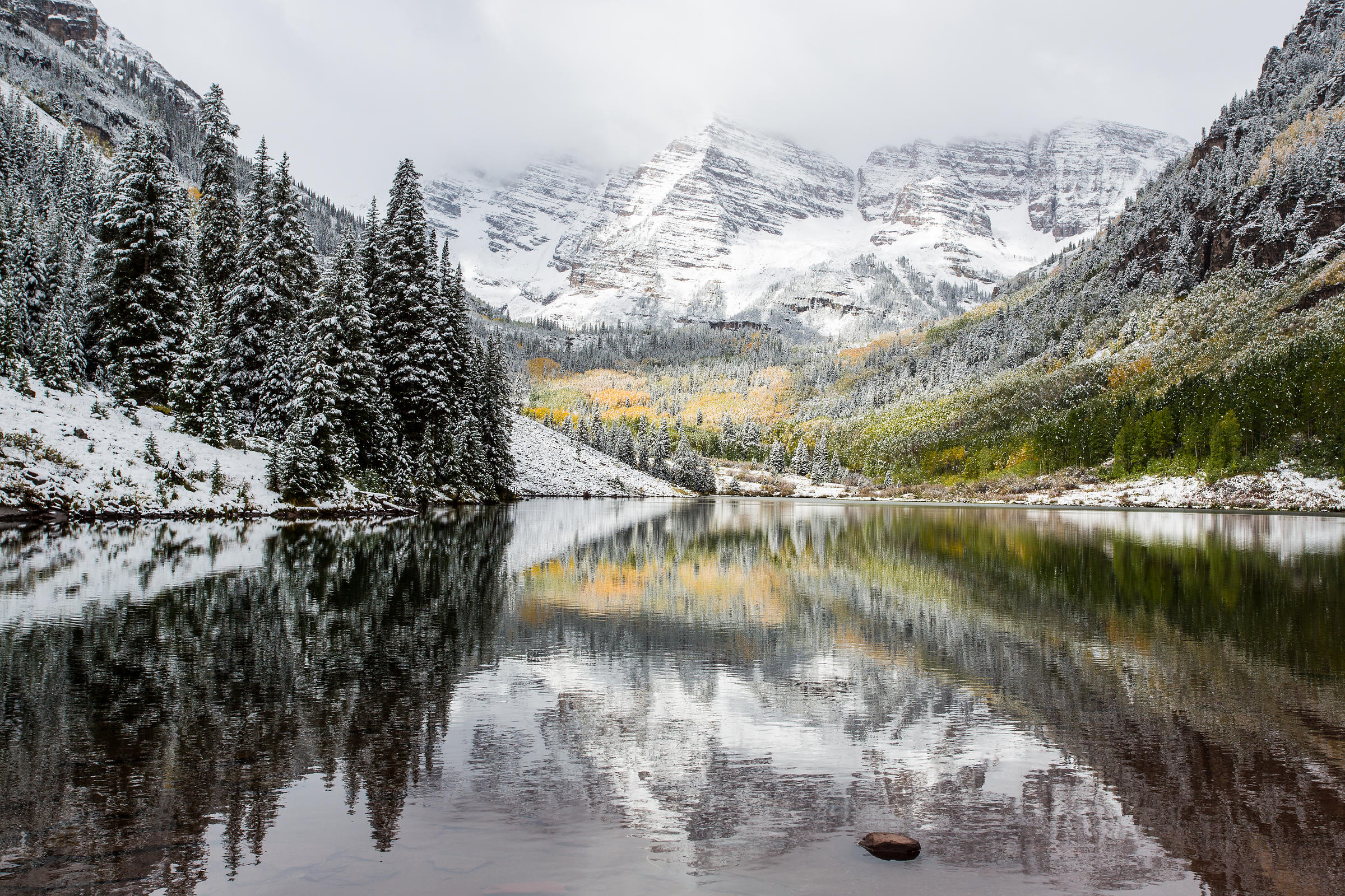 Snowy Fall in the Maroon Bells