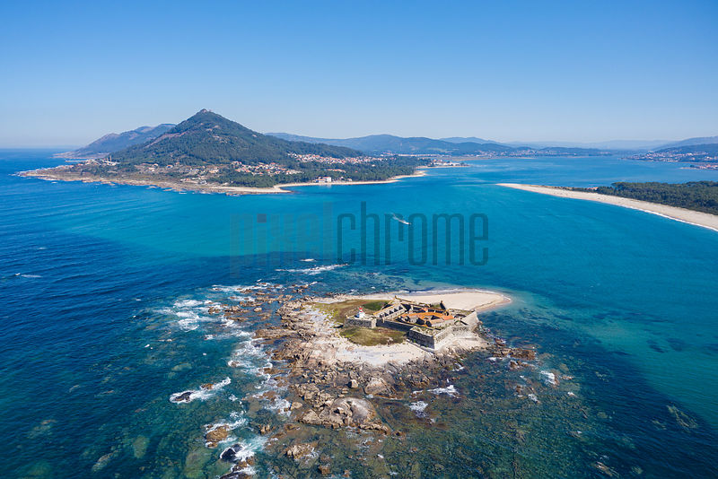 Aerial View of Insua Fort and Moledo Beach
