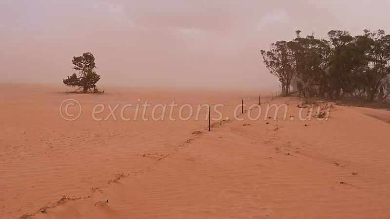 Landscape with wind and dust.