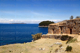 Inca site of Pilco Cayma / Pilcocaina, Moon Island in distance, Sun Island, Lake Titicaca, Bolivia