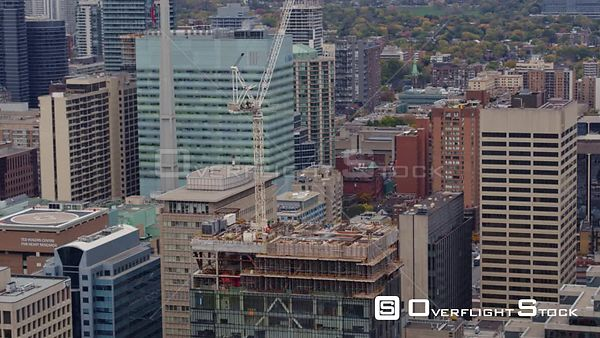 Toronto Ontario Zooming in to building construction detail in birdseye panning view