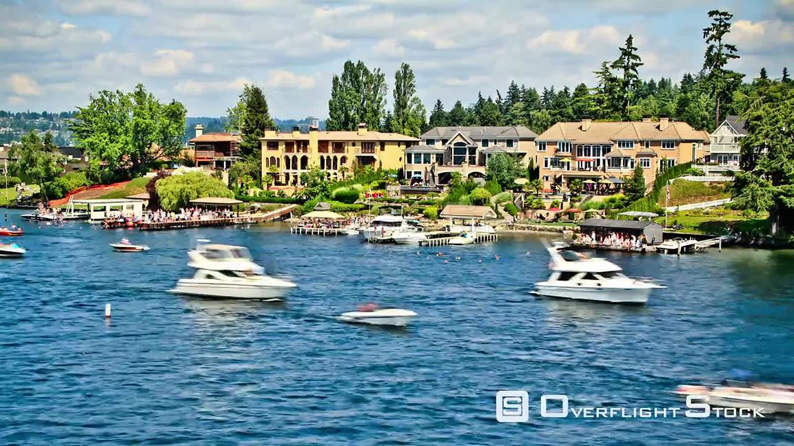Boat traffic time lapse passing by in Lake Washington.