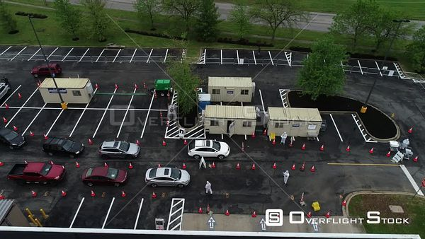 Covic19 Drive Through Testing Station West Buechel, Louisville Kentucky Drone View