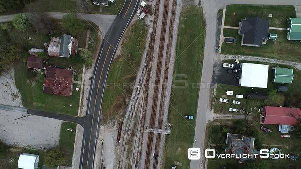 Train Station in a Small Rural Community Kentucky Drone View