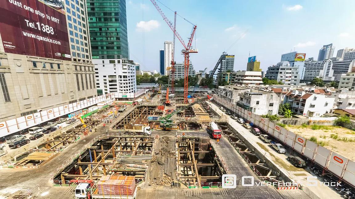 Construction time lapse in Bangkok, Thailand