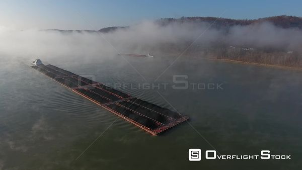 Coal Barge on the Ohio River Drone Aerial View