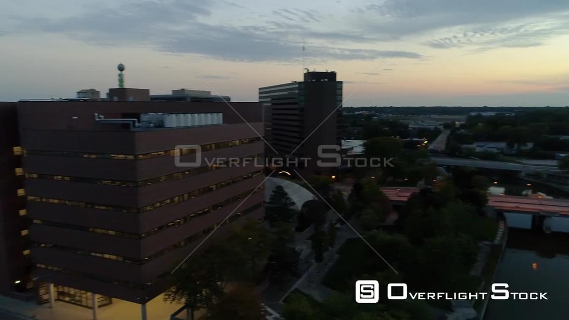 Dusk Cityscape Flint Michigan