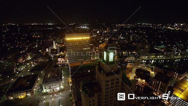 Providence Rhode Island Panoramic birdseye over downtown cityscape at night