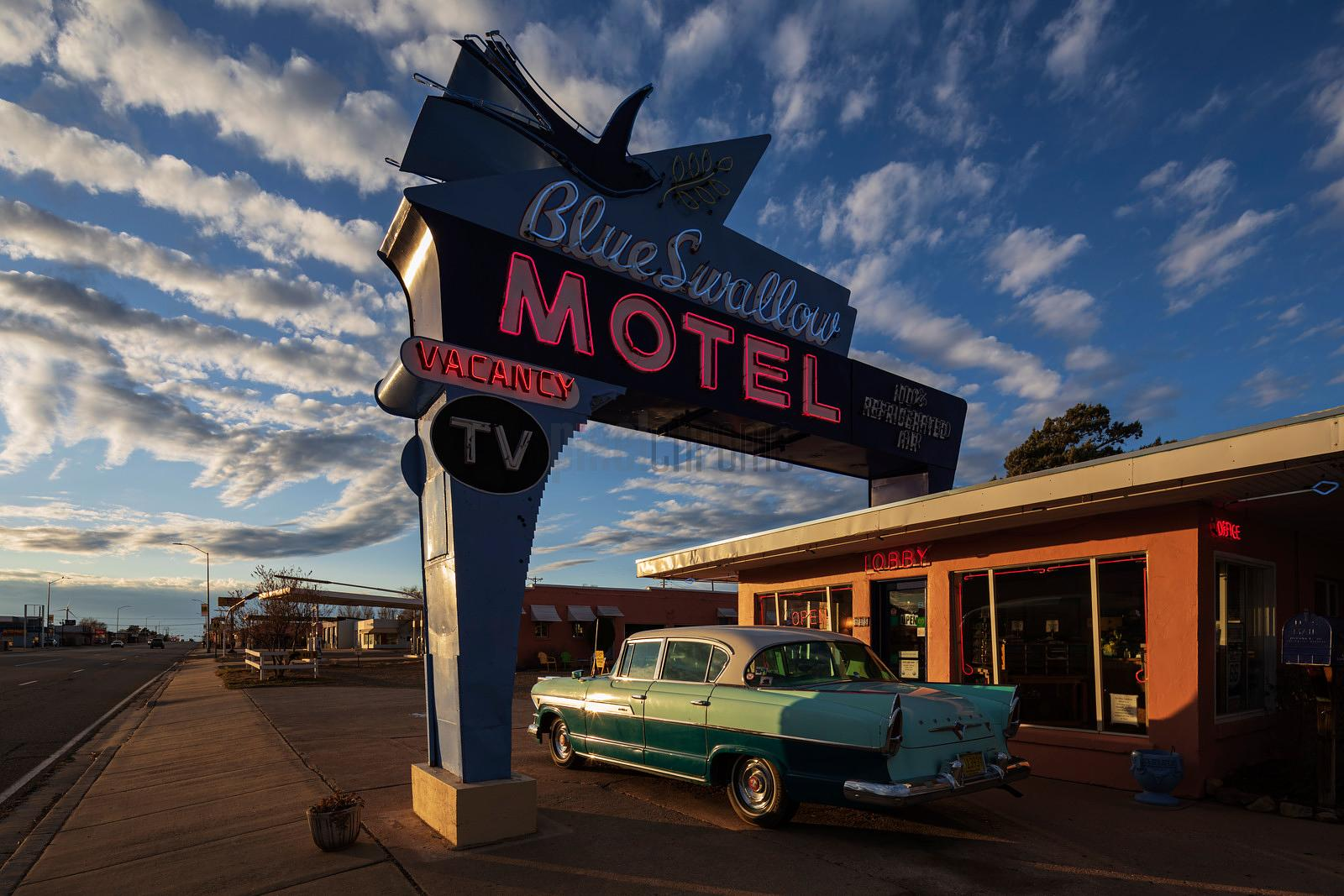 Blue Swallow Motel at Sunset