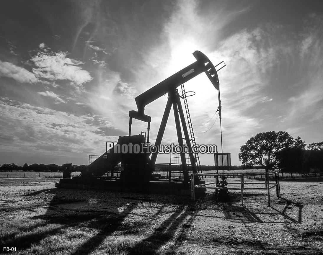Black and white photo of an oil pump in Texas