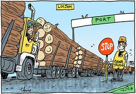 Log Jam at the Port