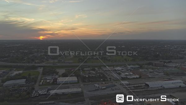Mobile Alabama sunset over the rural landscapes and shipyards   DJI Inspire 2, X7, 6k