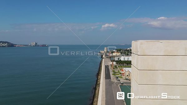 Aerial reverse flyby Monument to the Discoveries, in Belém, Lisbon, empty streets During Covid-19 Pandemic Portugal