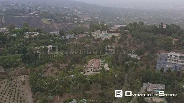 Los Angeles Slow panning view of hillside mansions