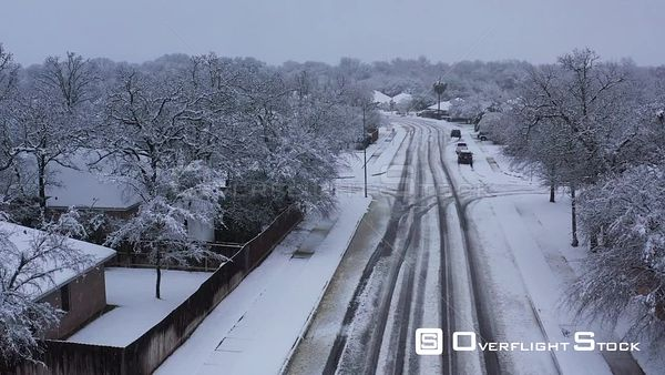 Snow Fall in a Residential Neighborhood, Bryan, Texas, USA