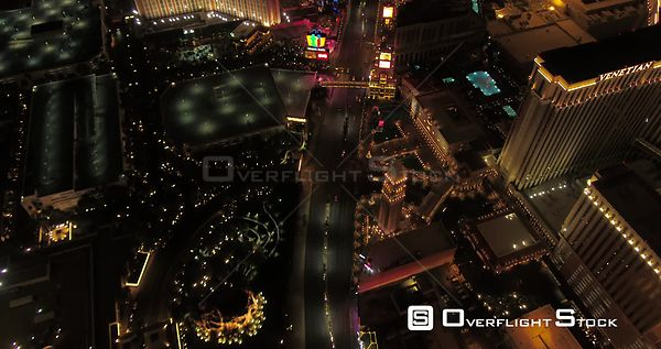 Las Vegas Aerial v42 Flying over main strip blvd looking down vertically panning up at night 4/17