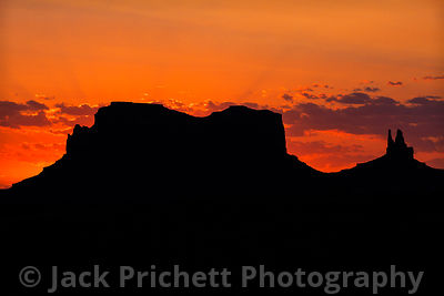 Monument Valley buttes at sunset