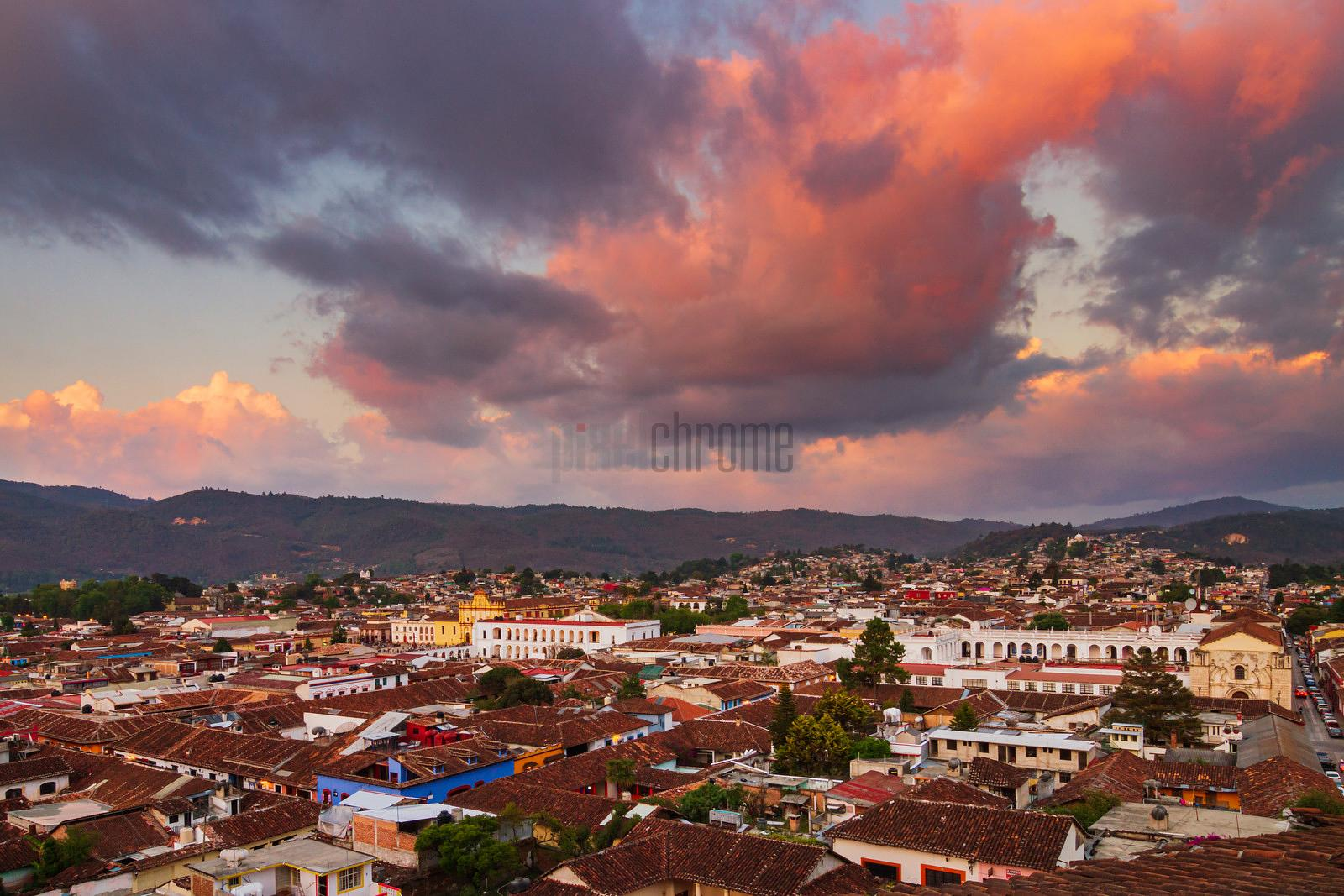 Elevated View of the Skyline of San Cristobal de las Casas at Dusk