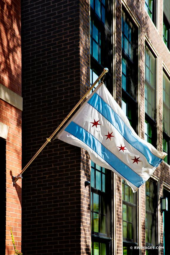 BROWNSTONES AND CHICAGO FLAG CHICAGO ILLINOIS COLOR VERTICAL