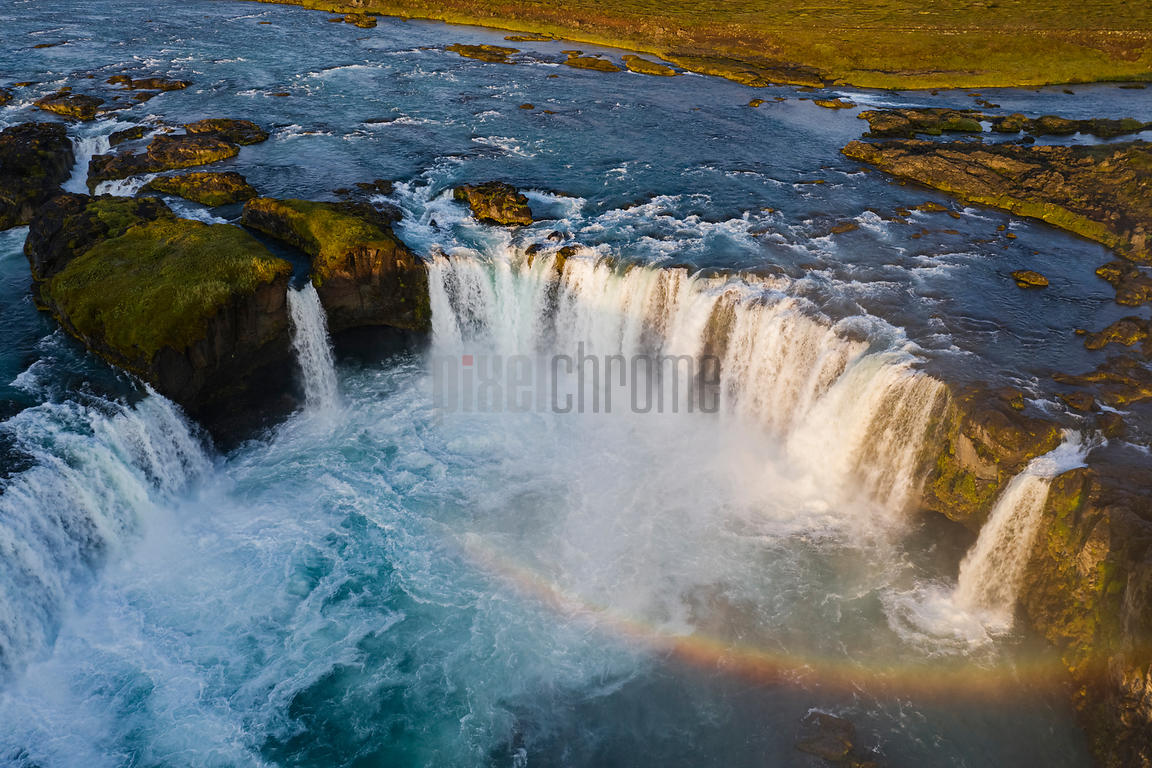 Aerial View of Goðafoss Waterfall