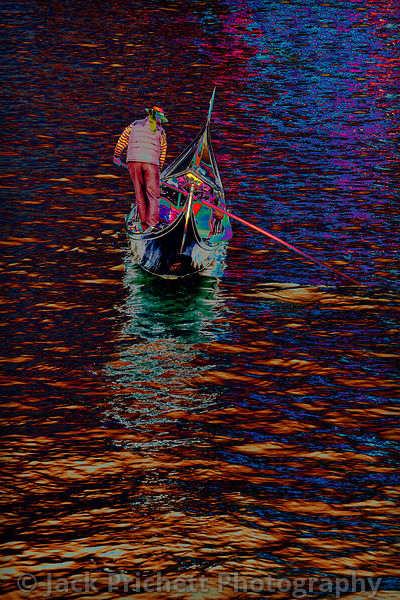 Gondola with gondolier, Grand Canal, Venice