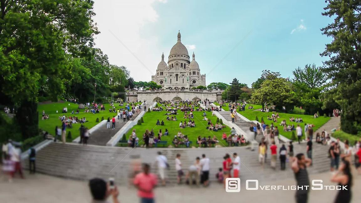 Pedestrian time lapse at the  Sacréoeur Basilica in Paris France