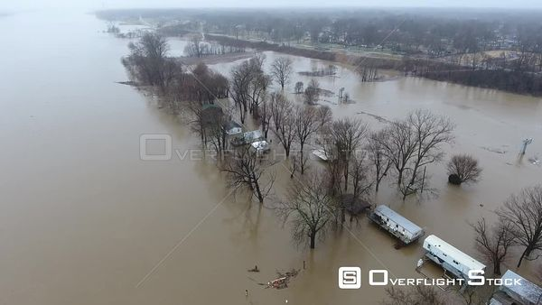 Houses on Ohio River Flooding New Albany Indiana Drone View