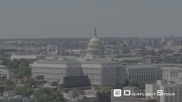 Rising Aerial Pedestal of the Capitol Building Washington DC Drone Aerial View