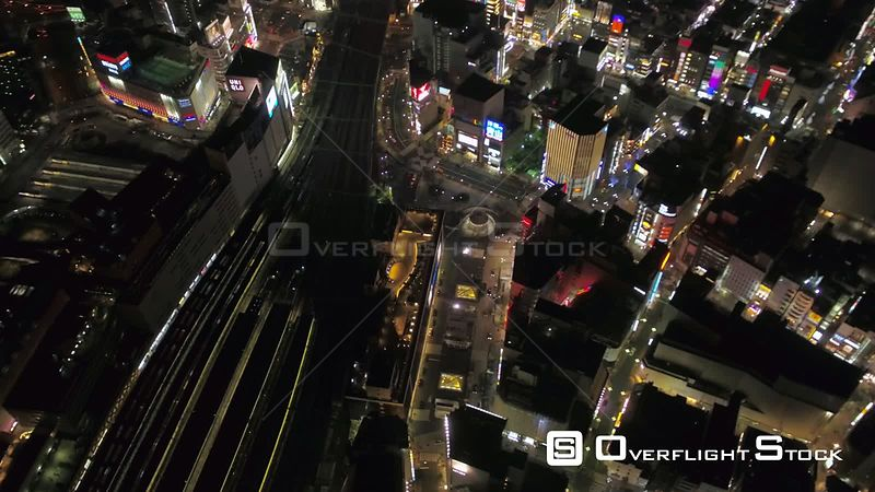 Japan Tokyo Aerial Flying low over Minato area panning with cityscape views