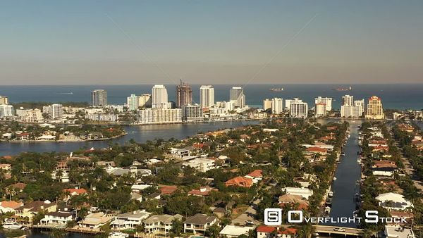 Beautiful Coastal Scene Fort Lauderdale Broward County USA Shot With Aerial Drone