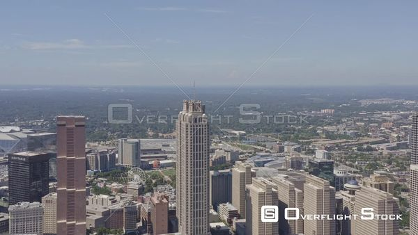 Atlanta Flying east in reverse looking back west at downtown cityscape and Sweet Auburn district