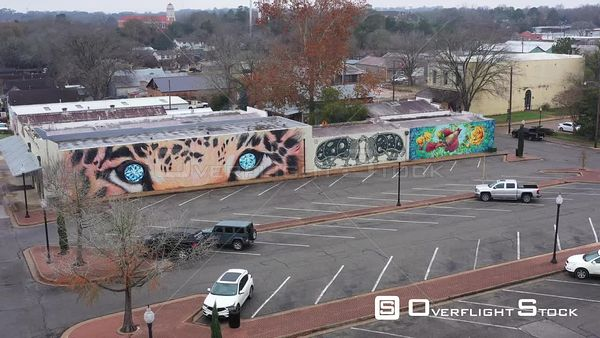 Murals on Some Old Buildings and a Parking Lot, Brenham, Texas, USA