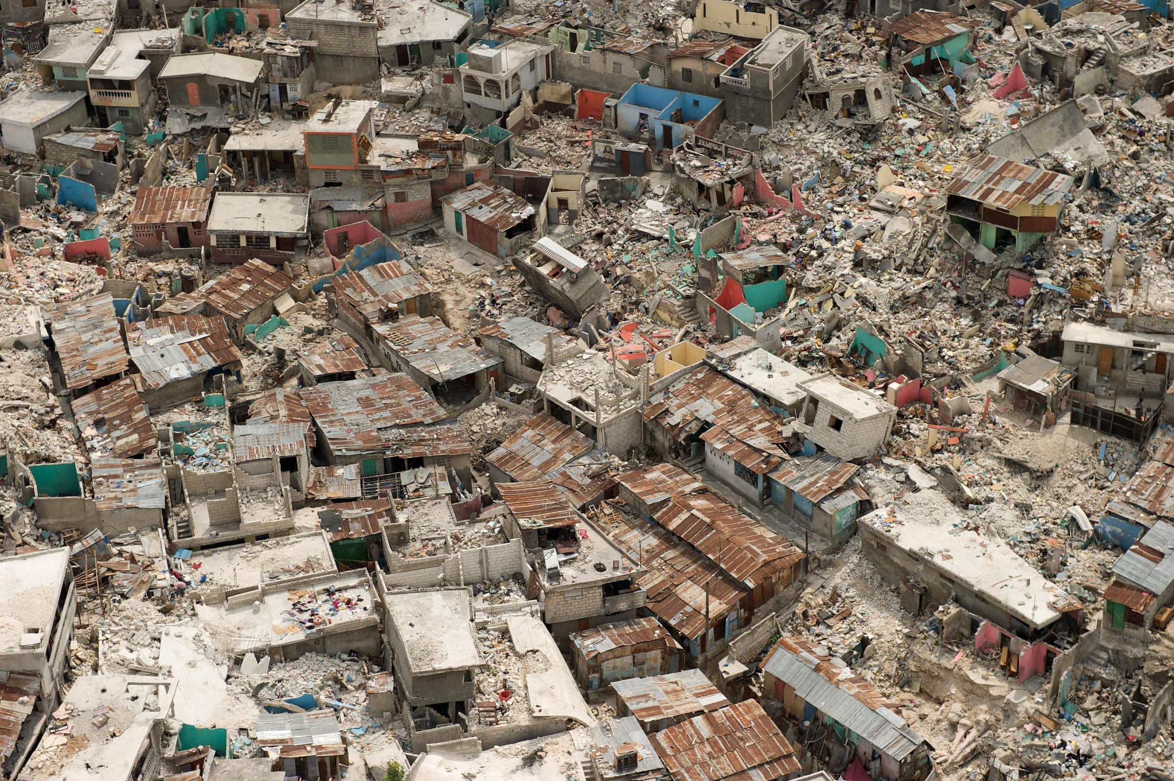 Aerial of Haitian Earthquake Destruction