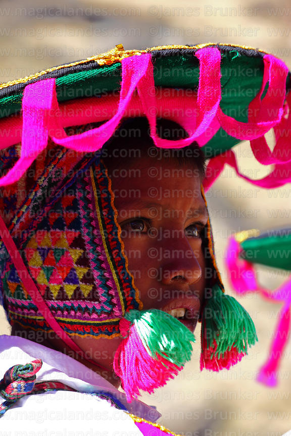 Young Quechua boy wearing traditional dress, Cusco Region, Peru