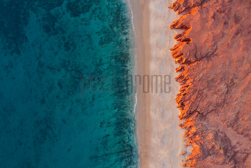 Overhead View of Waves Breaking on Cape Leveque Beach