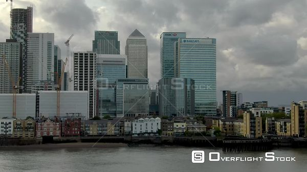 Canary Wharf financial district, filmed by drone in autumn, London, United Kingdom