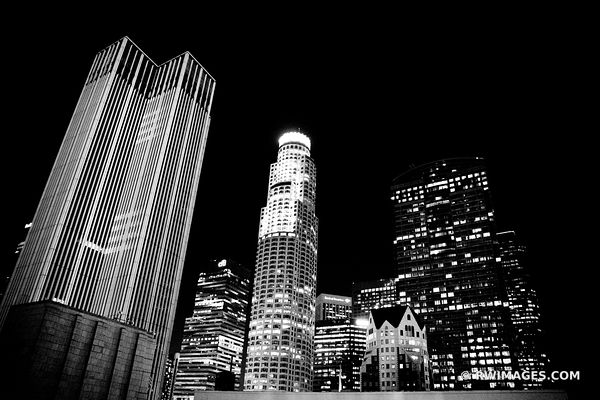 LOS ANGELES DOWNTOWN NIGHT LA CALIFORNIA BLACK AND WHITE
