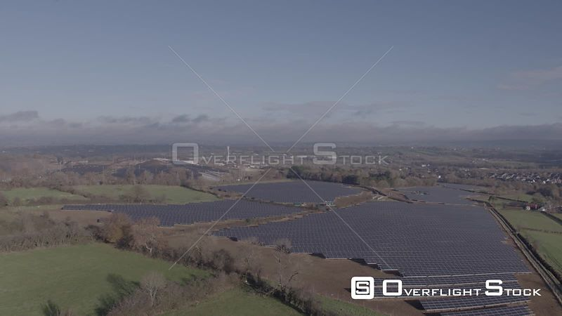 A Rise Over a Solar Park on a Sunny Autumnal Morning