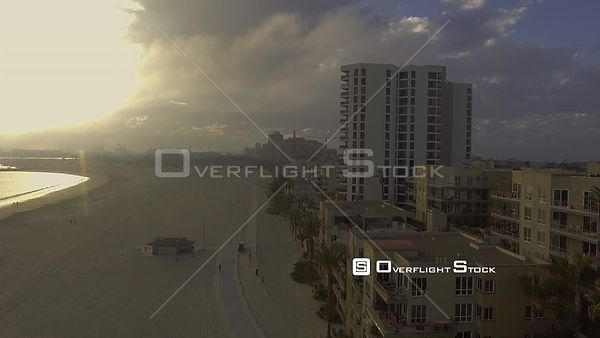 Sun Setting in Long Beach as Storm Rolls in, California, USA