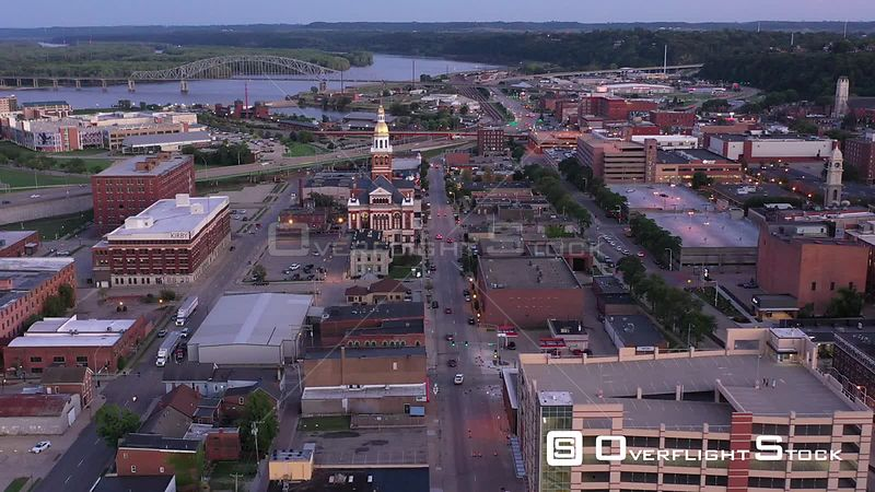 City Overview and the Mississippi River, Dubuque, Iowa, USA