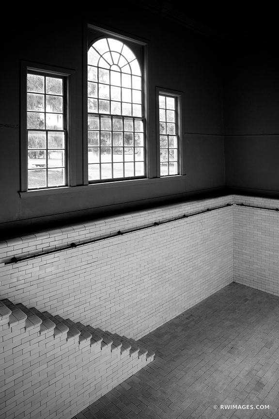OLD INDOOR POOL PLUM ORCHARD MANSION INTERIOR CUMBERLAND ISLAND GEORGIA BLACK AND WHITE VERTICAL